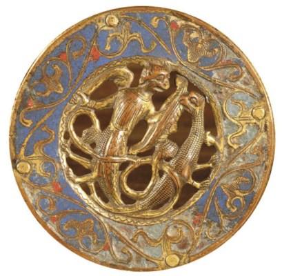 A pierced parcel-gilt enamelle