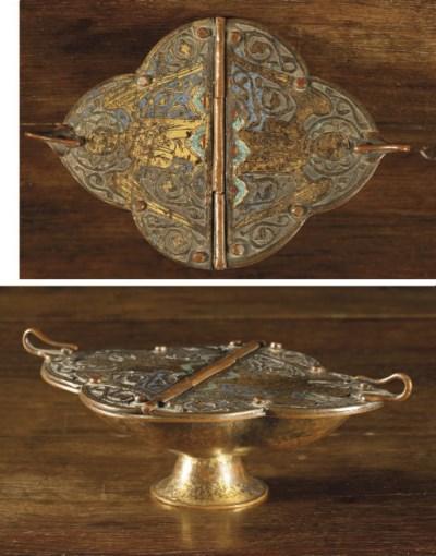 A parcel-gilt enamel incense b