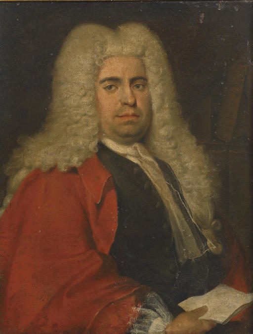 Portrait of a gentleman, half-length, in a red coat over a grey waistcoat and white jabot, holding a letter