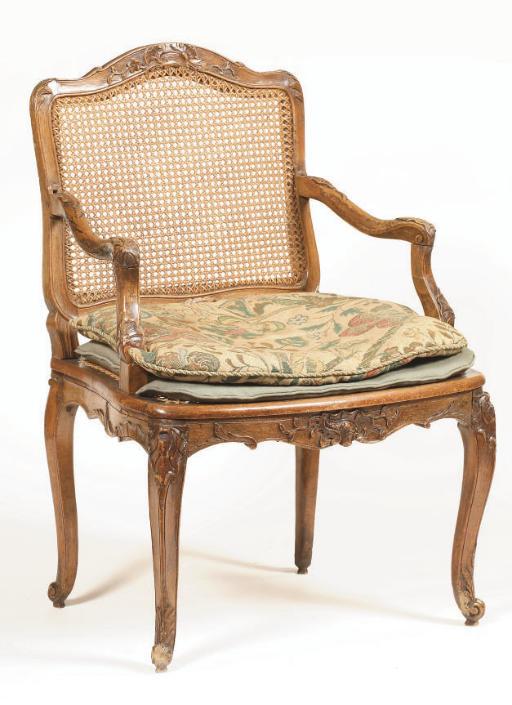 A Louis XV beechwood fauteuil
