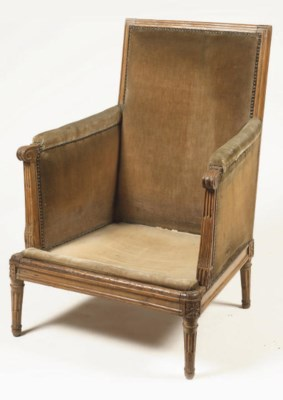 A Louis XVI beechwood bergere