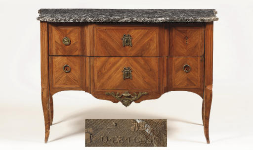 A Late Louis XV ormolu-mounted, tulipwood and kingwood commode