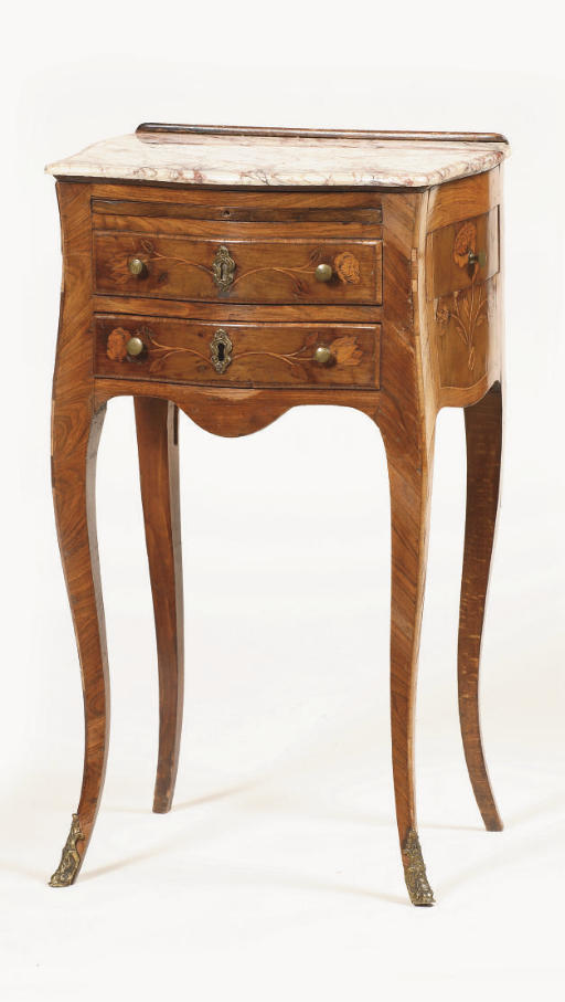 A Louis XV tulipwood, fruitwoo