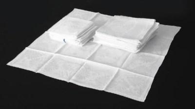 A set of three damask linen ta
