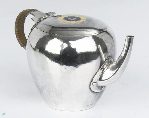A small Dutch silver teapot af