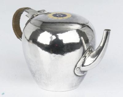 A small Dutch silver teapot af