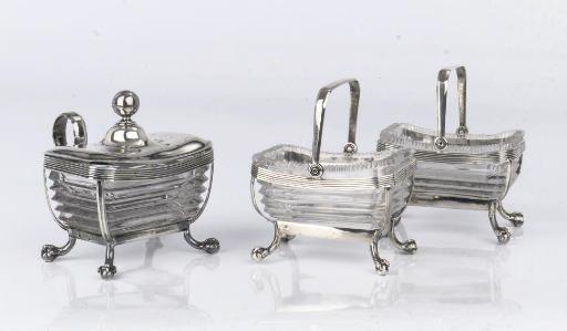 A Dutch silver pair of salt-ce