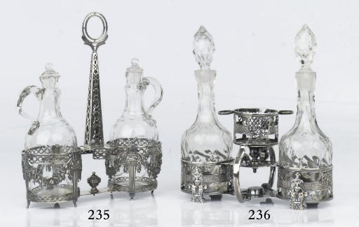 A Belgian silver oil and vineg