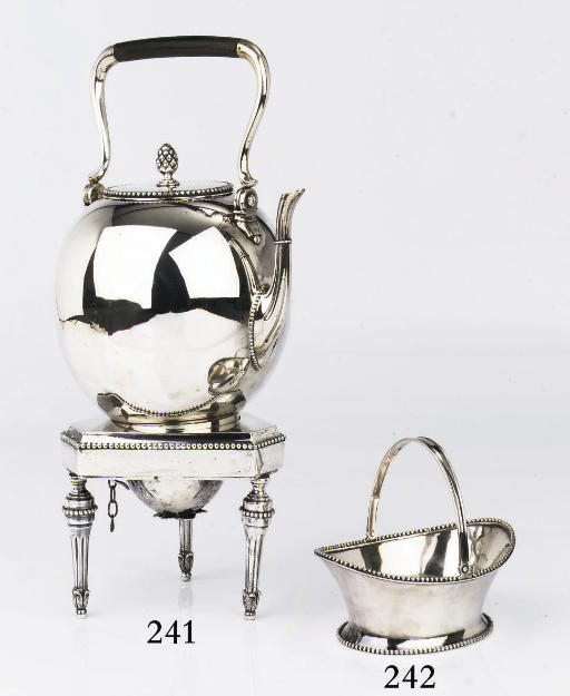 A Dutch silver tea-kettle on s