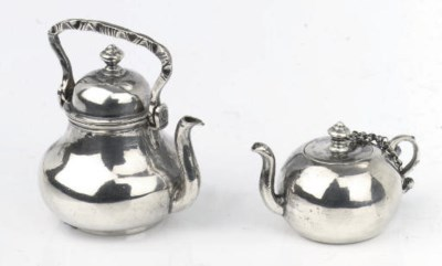 A Dutch silver miniature teapo