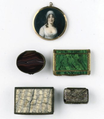 A portrait miniature and three