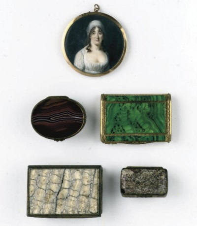 A portrait miniature and three