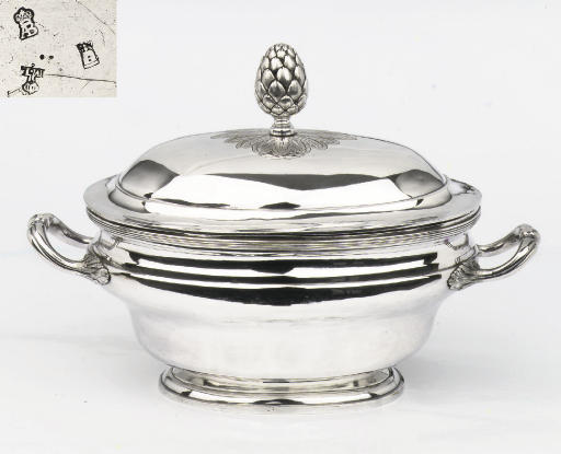 A French silver tureen, cover