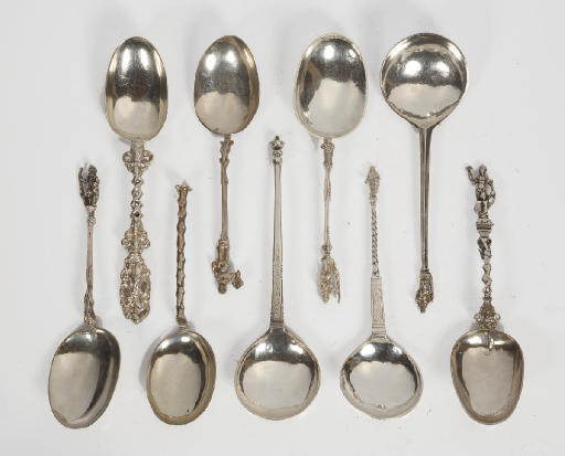 Nine various Dutch silver spoo
