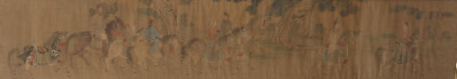 A Chinese handscroll and paint
