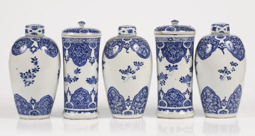 A Chinese blue and white five-