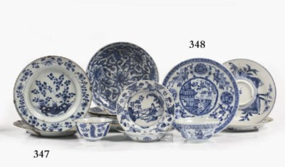 A set of ten Chinese blue and