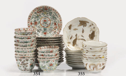 A set of nine Chinese cups and