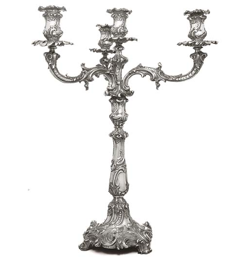 A SILVER-PLATED FOUR-LIGHT CAN