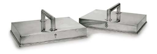TWO SILVER-PLATED BISCUIT-SERV
