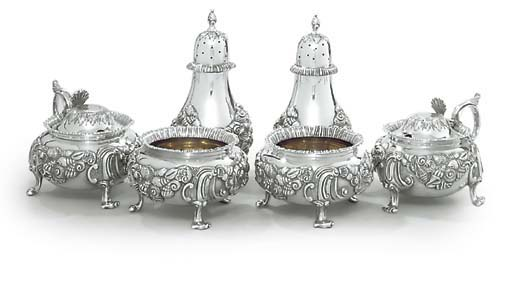 A VICTORIAN SILVER-PLATED SIX-