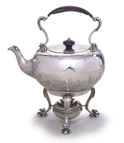 A VICTORIAN SILVER TEA-KETTLE,