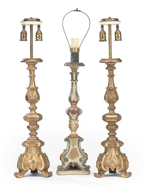 A PAIR OF ITALIAN GILTWOOD CAN