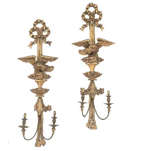 A PAIR OF GILTWOOD AND BRASS-M
