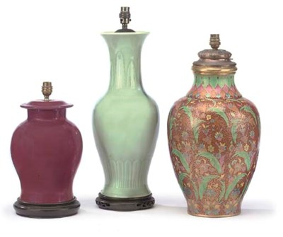 THREE PORCELAIN VASES ADAPTED