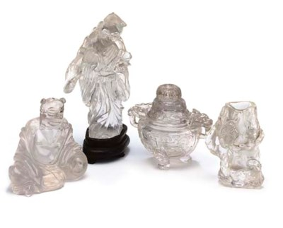 FOUR CHINESE ROCK CRYSTAL CARV