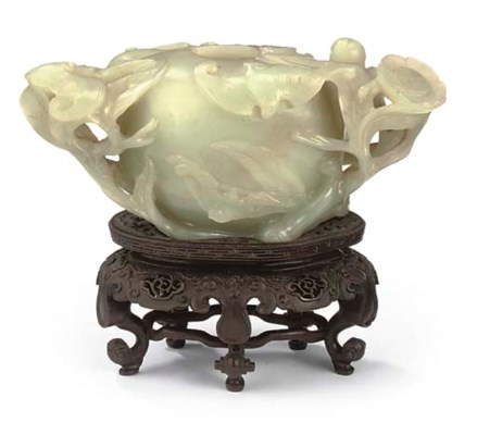 A CHINESE CELADON JADE TWIN-HA