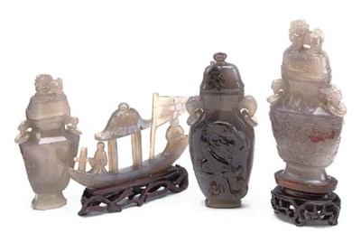 THREE CHINESE AGATE VASES AND