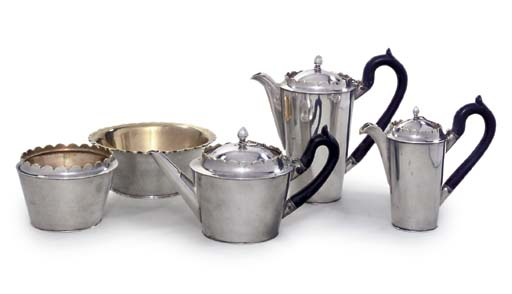 A RUSSIAN SILVER FIVE-PIECE TE