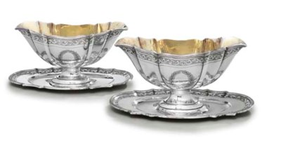 A PAIR OF DANISH SILVER SAUCEB