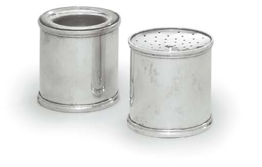 AN ITALIAN SILVER INKPOT AND S