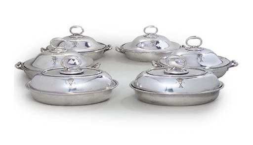 A SET OF SIX SILVER-PLATED ENT