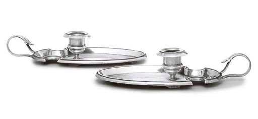 A PAIR OF FRENCH SILVER CHAMBE