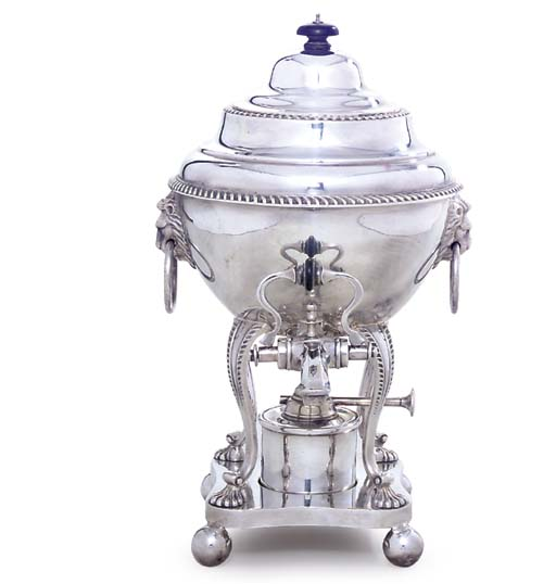 A SILVER-PLATED HOT-WATER URN