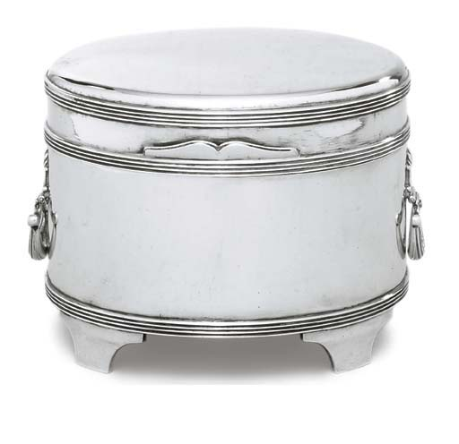 A GEORGE V SILVER BISCUIT-BOX