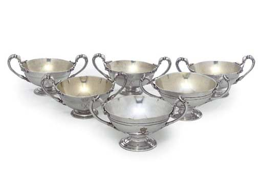 A SET OF SIX FRENCH SILVER-PLA