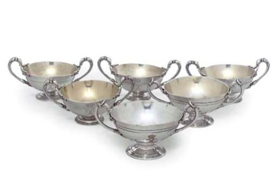 A SET OF FIVE FRENCH SILVER-PL
