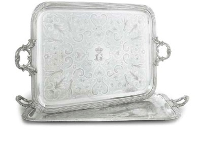 A FRENCH SILVER-PLATED TRAY