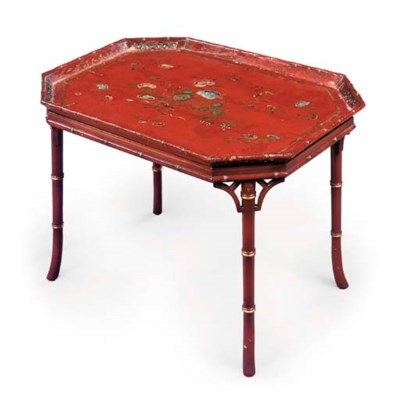 A CHINESE-EXPORT RED AND GILT-