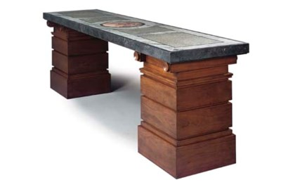 A HARDWOOD AND MARBLE CENTRE T