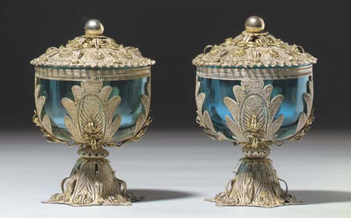 A PAIR OF OTTOMAN SILVER AND G