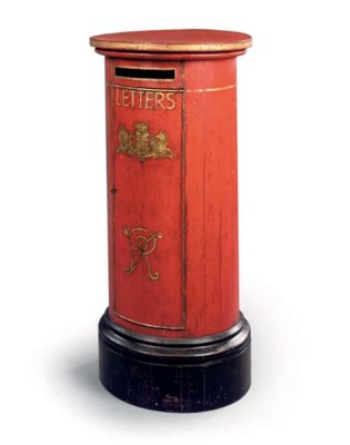 A RED AND GILT PAINTED PEDESTA