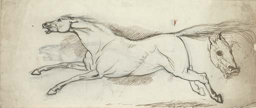 Study of a galloping horse and two subsidiary sketches of a horse's head