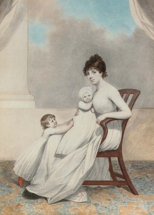 Portrait of Mrs Phillips and her two children, full-length, seated