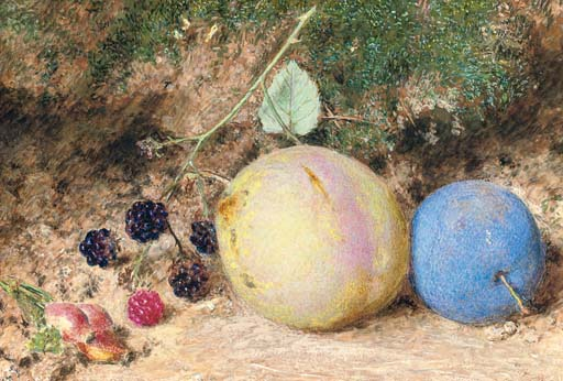 Still-life of rosehips, blackberries and plums, on a mossy bank