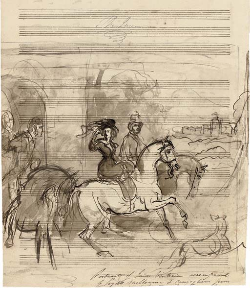 Study for a portrait of Queen Victoria out riding, accompanied by Lords Melbourne and Conyngham (illustrated); and Study of the head of Queen Victoria